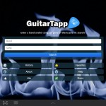 GuitarTapp home (search) screen on tablet
