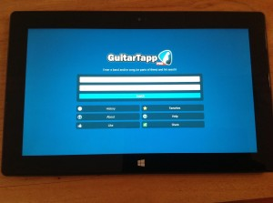 GuitarTapp running on Microsoft Surface with Windows RT